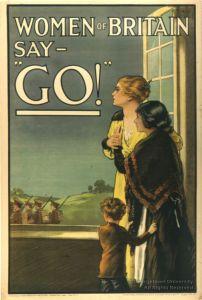 A British gov't WWI propaganda poster seeking to motivate men who hadn't enlisted through social pressure.