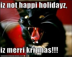 """Enemy agents from Santa's network of terror frequently sneak post cards with terrifying images like this attack cat. These cards are left in elementary schools and on playgrounds, where young American kids are frightened into thinking they not only have to say """"Merry Christmas"""" all the time, but that they must misspell it as well."""